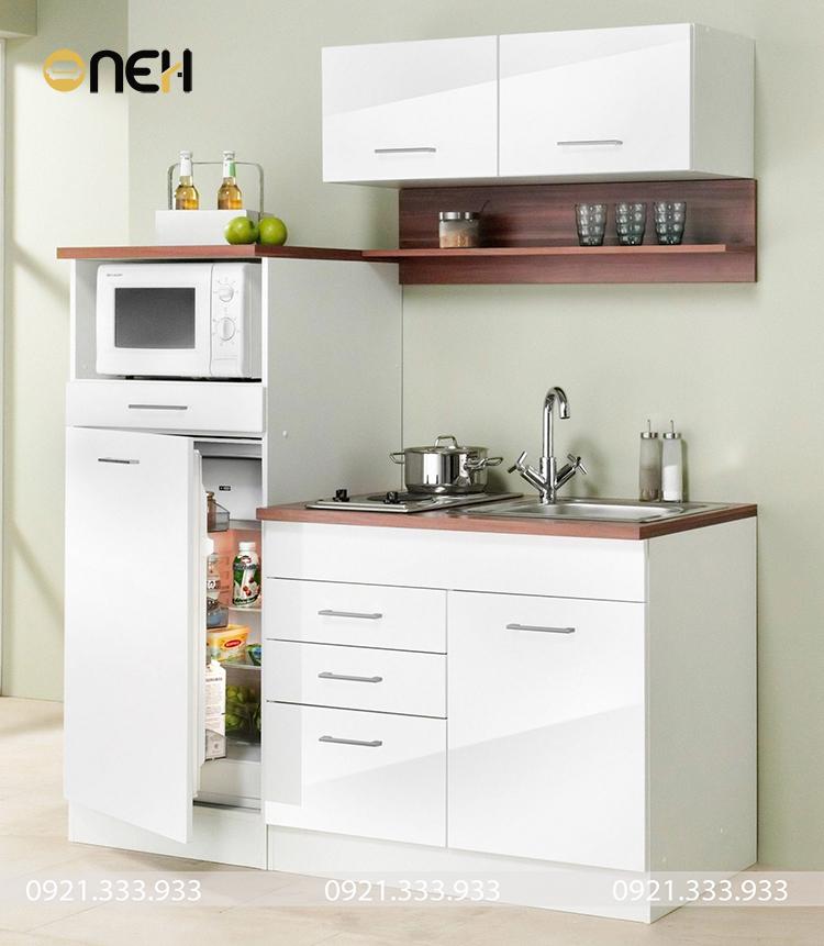 Thiết kế tủ bếp mini kiểu dáng chuyên biệt, phù hợp không gian bếp có diện tích khiêm tốn