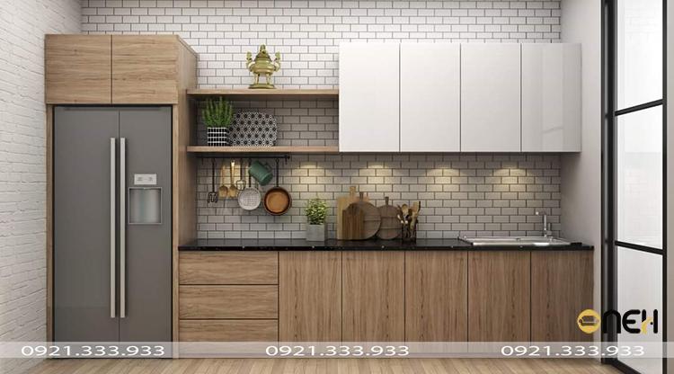 Thiết kế tủ bếp chữ I nhỏ gọn phù hợp nhiều không gian