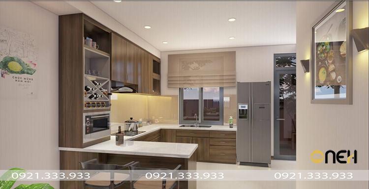 Thiết kế tủ bếp acrylic sáng bóng, mang tính thẩm mỹ cao