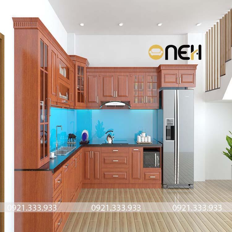 Tủ bếp gõ đỏ thiết kế sang trọng, họa tiết vân gỗ rõ nét, tinh tế