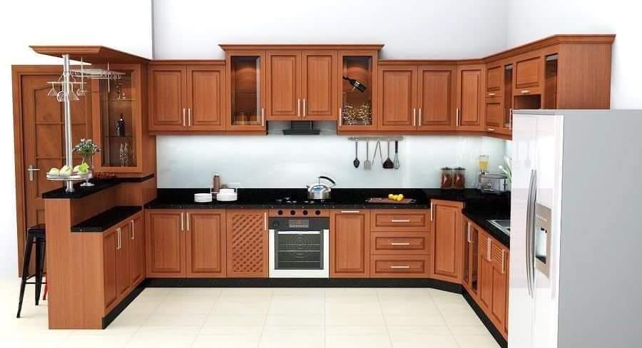 Tủ bếp gõ đỏ kết cấu chắc chắn chịu lực tốt