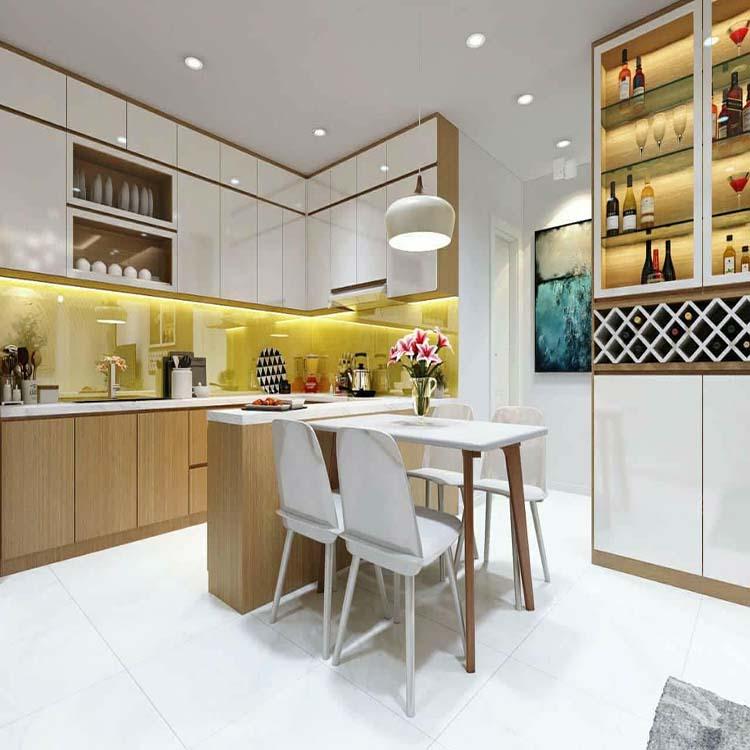 ủ bếp 3 rất sang trọng, tông màu chủ đạo là màu trắng phù hợp với màu sơn tường
