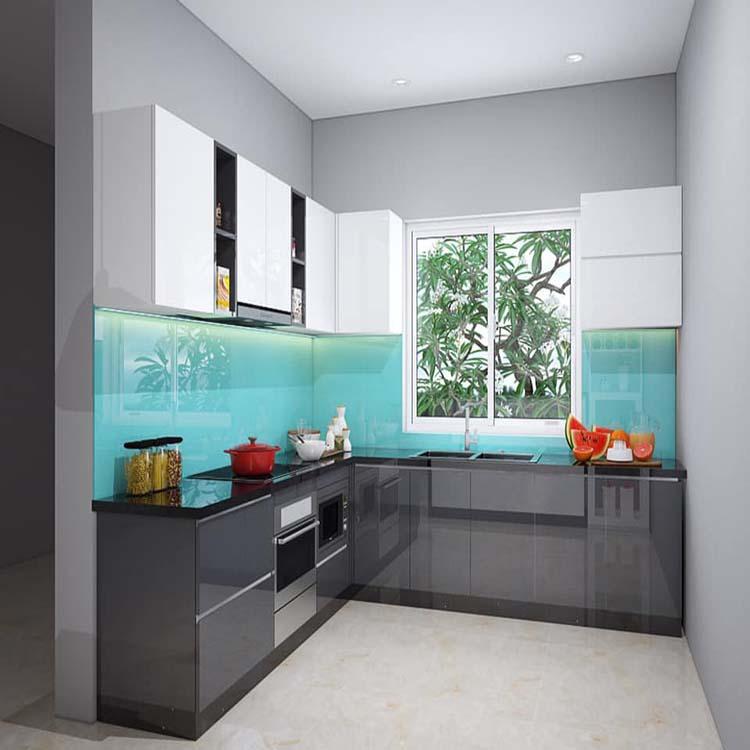 Tủ bếp được làm bằng gỗ công nghiệp acrylic, có độ bóng gương