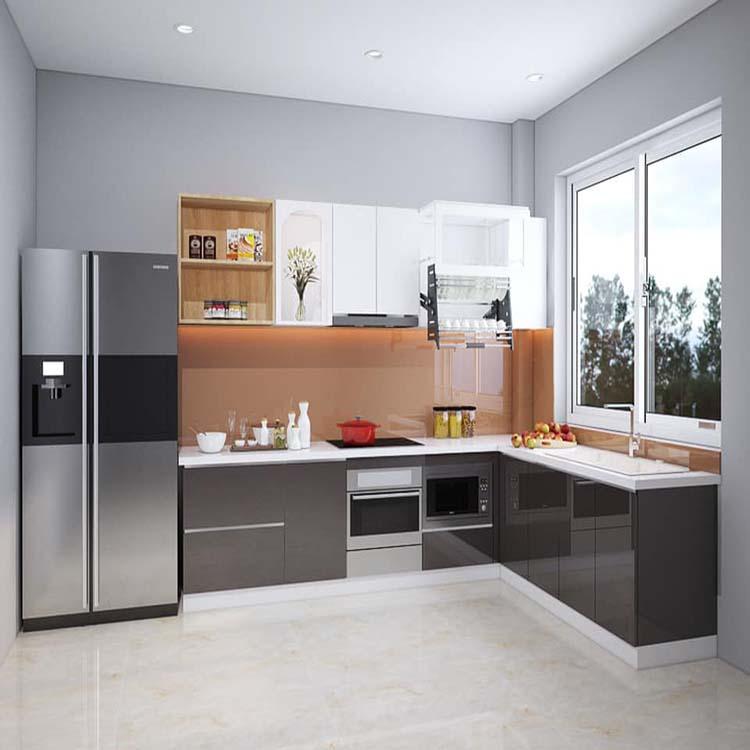 Tủ bếp gỗ công nghiệp cơ bản cho phong cách đơn giản, nhẹ nhàng