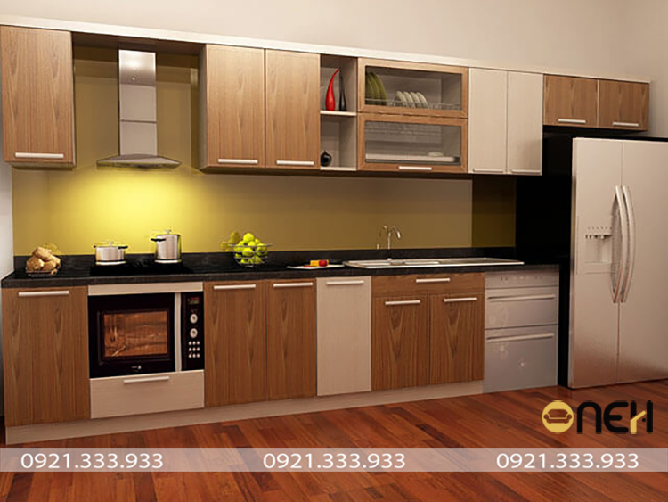 Kết cấu tủ bếp nhôm kính vân nhiều ngăn đáp ứng mọi nhu cầu sử dung