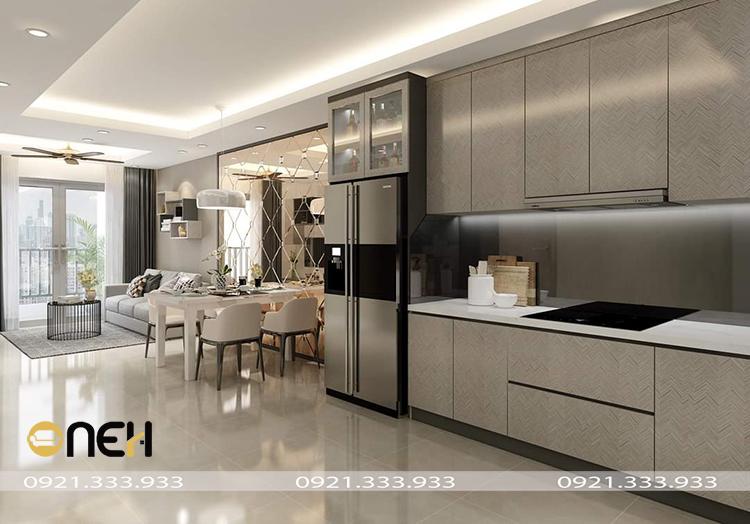 Kết cấu tủ bếp bằng gỗ tự nhiên chắc, thiết kế đáp ứng tính thẩm mỹ