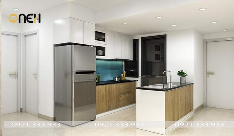 tủ bếp bằng gỗ tự nhiên kết hợp vật liệu phủ Laminate sang trọng, tinh tế