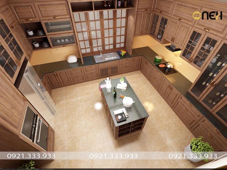 Thiết kế tủ bếp bằng gỗ tự nhiên mang đến không gian sang trọng, âm áp