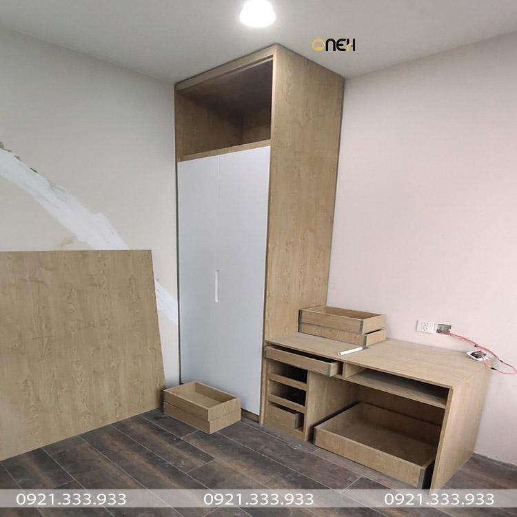 Tủ quần áo 2 cánh tủ kết hợp cùng bàn trang điểm tiện lợi