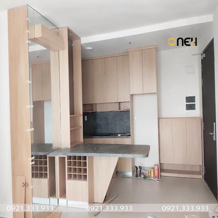 Tủ bếp làm bằng gỗ công nghiệp có giá rẻ
