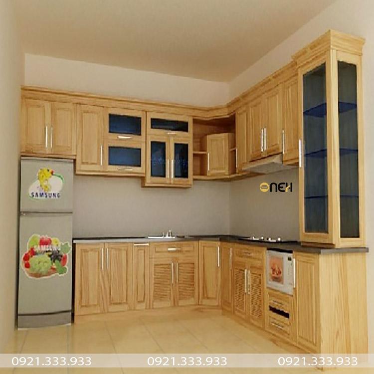 Tủ bếp gỗ sồi trắng có thiết kế phù hợp với nhiều căn bếp khác nhau