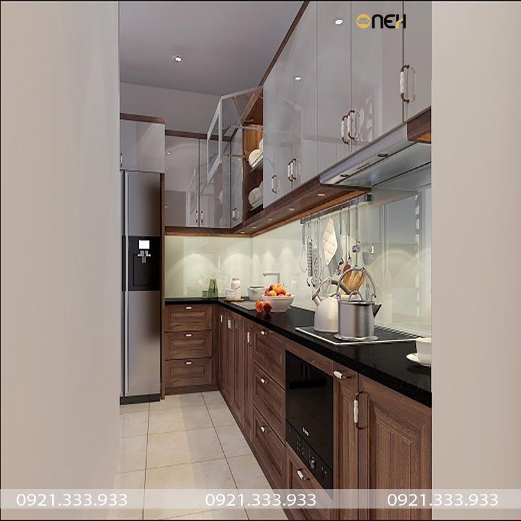 Tủ bếp kết hợp gỗ tự nhiên và gỗ công nghiệp