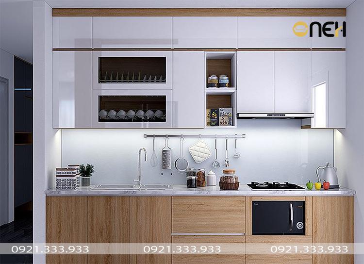 Đóng tủ bếp chung cư gỗ tự nhiên, đa dạng vật liệu màu sắc