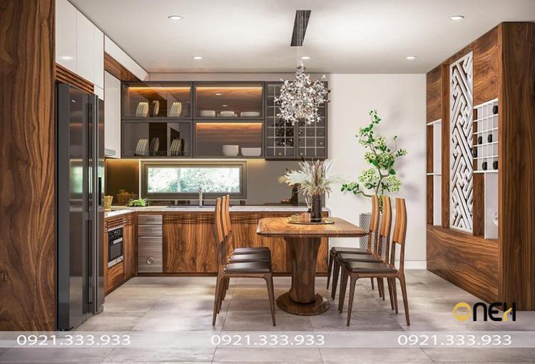 Mẫu 1: Tủ bếp MFC màu gỗ phủ acrylic