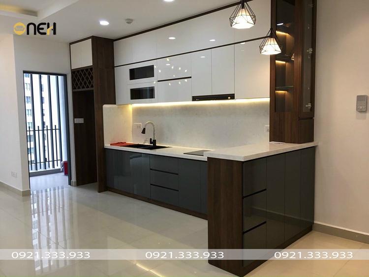 Tủ bếp gỗ Acrylic bóng gương có tính thẩm mỹ cao