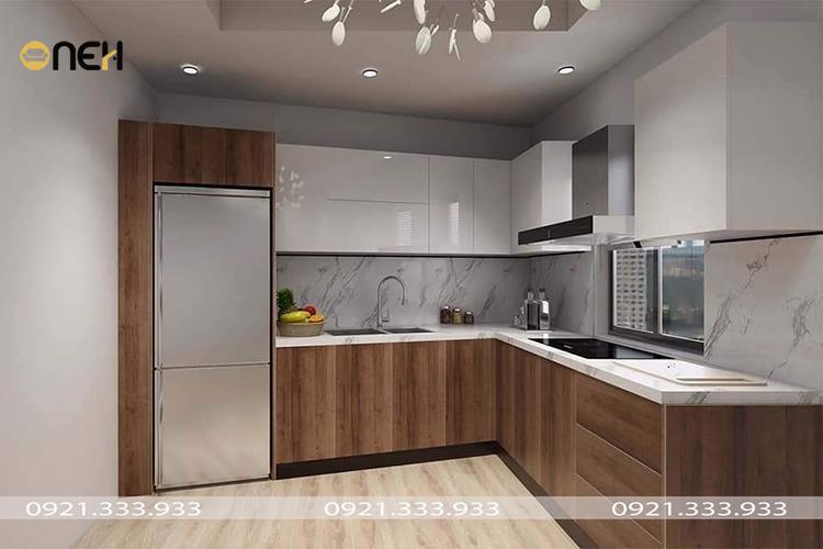 Tủ bếp gỗ MDF phủ acrylic màu gỗ kết hợp trắng
