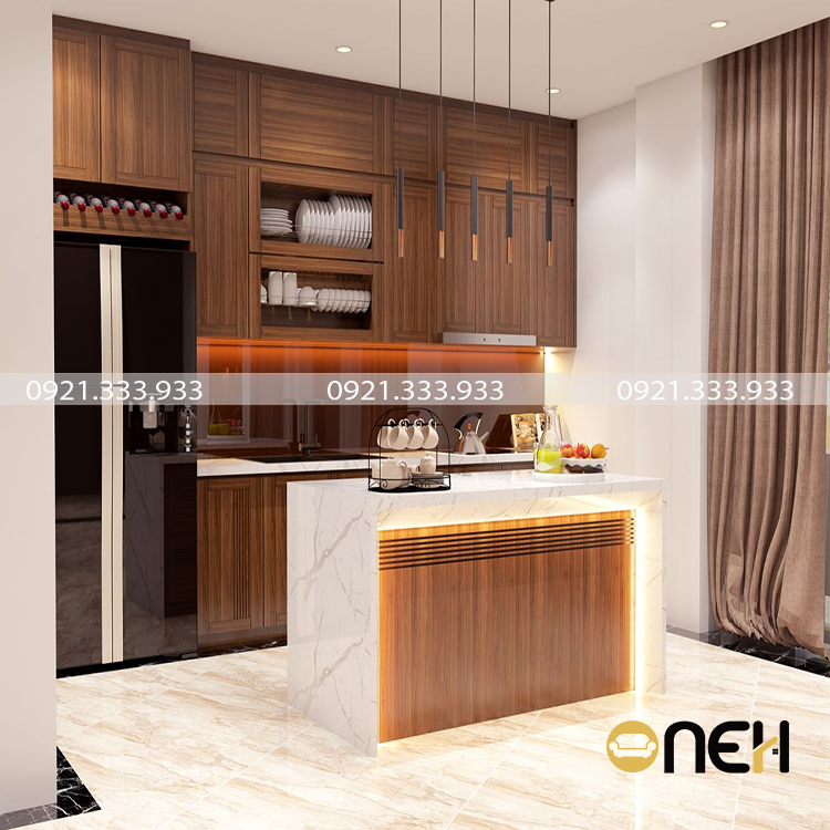 Tủ bếp gỗ công nghiệp laminate kết hợp bàn đảo với màu gỗ nổi bật