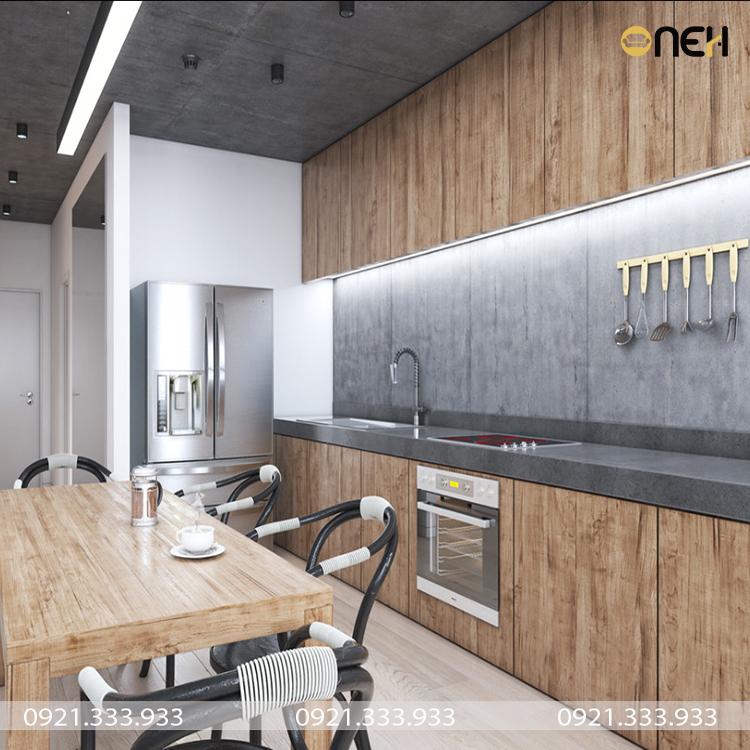Tủ bếp gỗ công nghiêp chữ I màu vân gỗ sang trọng