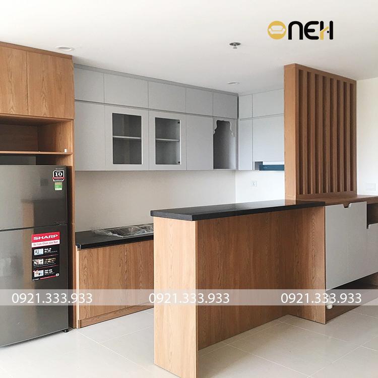 Tủ bếp được làm hoàn toàn bằng gỗ công nghiệp MDF
