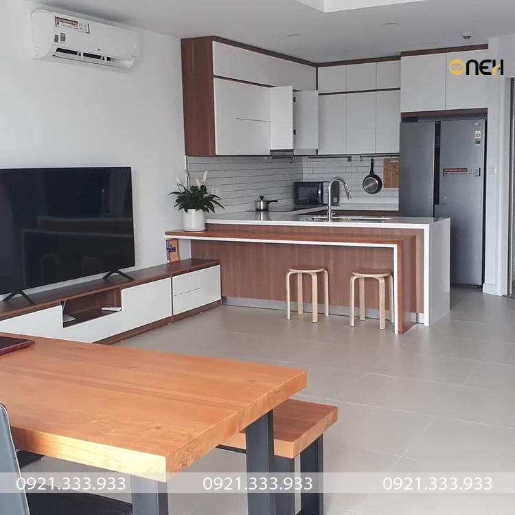 Tủ bếp gỗ công nghiệp có thiết kế phù hợp với kích thước với ngôi nhà
