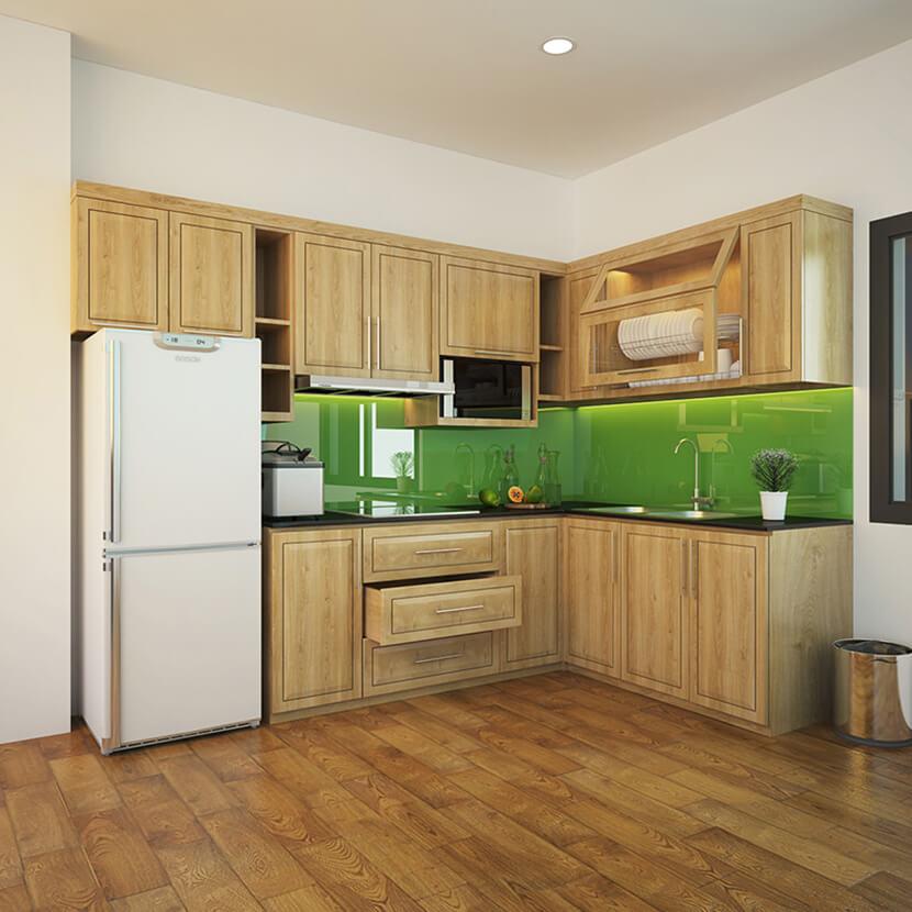 Tủ bếp gỗ tự nhiên có thiết kế đơn giản - hiện đại