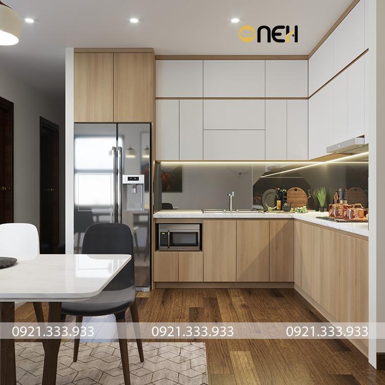 Tủ bếp inox cánh gỗ thiết kế chú trọng về cách bố trí phù hợp không gian hiện đại