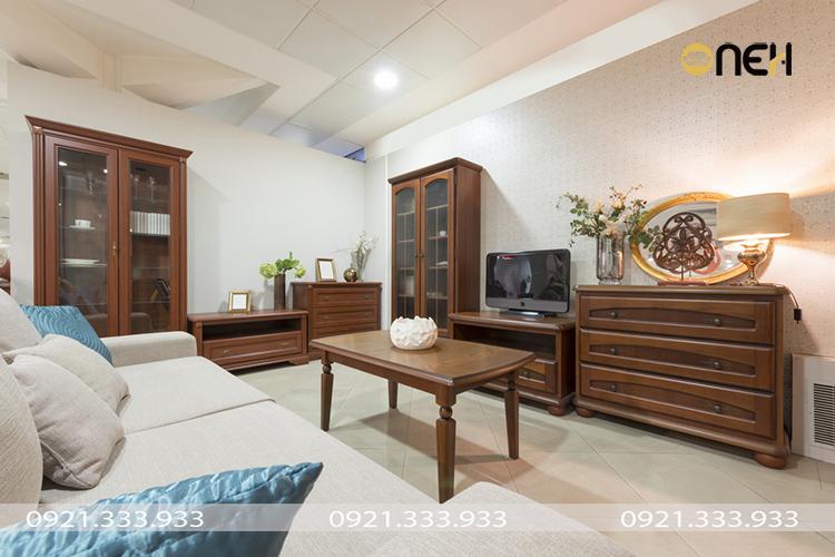 Đóng nội thất phòng khách theo yêu cầu gỗ tự nhiên