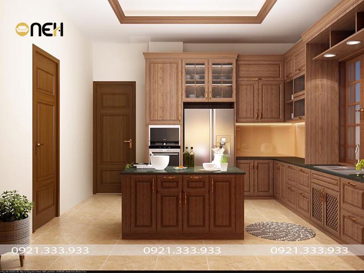 Thiết kế tủ bếp treo tương bằng gỗ tự nhiên, với họa tiết vân gỗ đẹp mắt