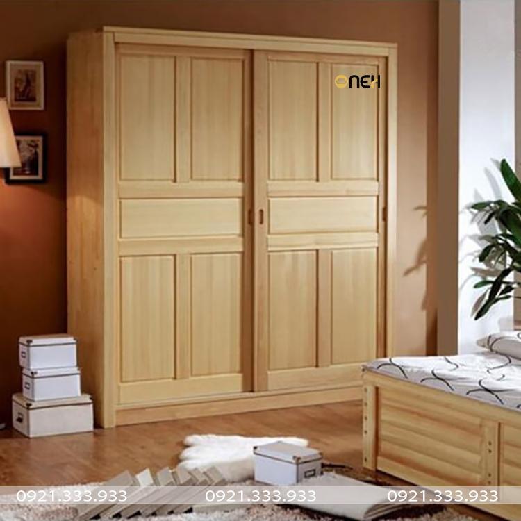 Tủ quần áo cửa lùa bằng gỗ tự nhiên vô cùng sang trọng