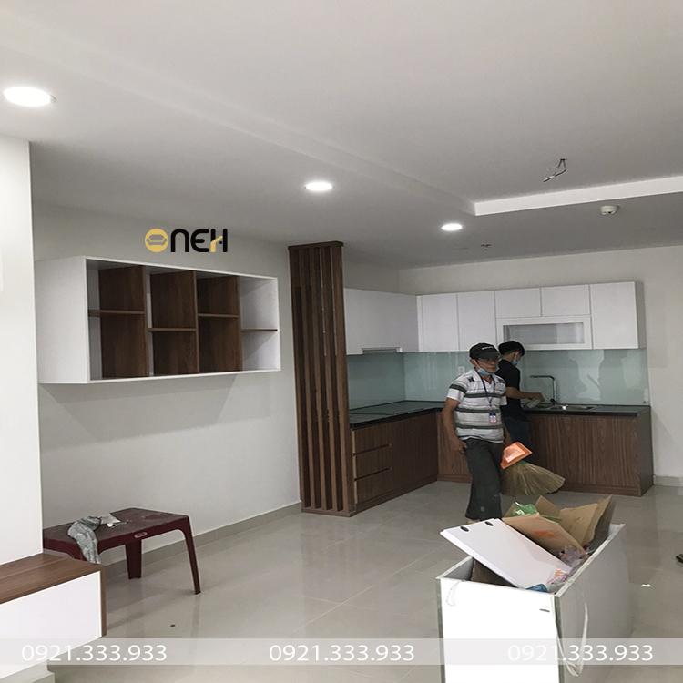 Tủ bếp gỗ công nghiệp MDF cho căn hộ chung cư