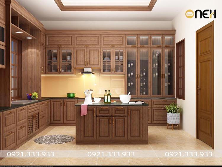 Tủ bếp gỗ tự nhiên mang đến không gian bếp sang trọng, hiện đại