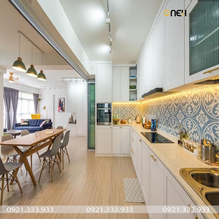Thiết kế nhà bếp không gian mở thoáng mát, rộng rãi