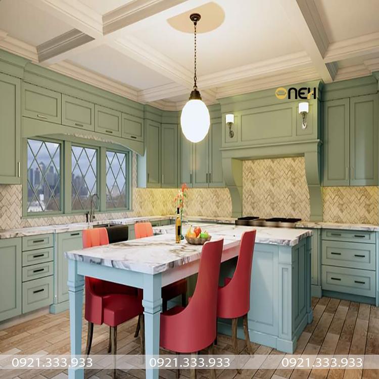 Thiết kế nhà bếp sang trọng mang hơi hướng tân cổ điển