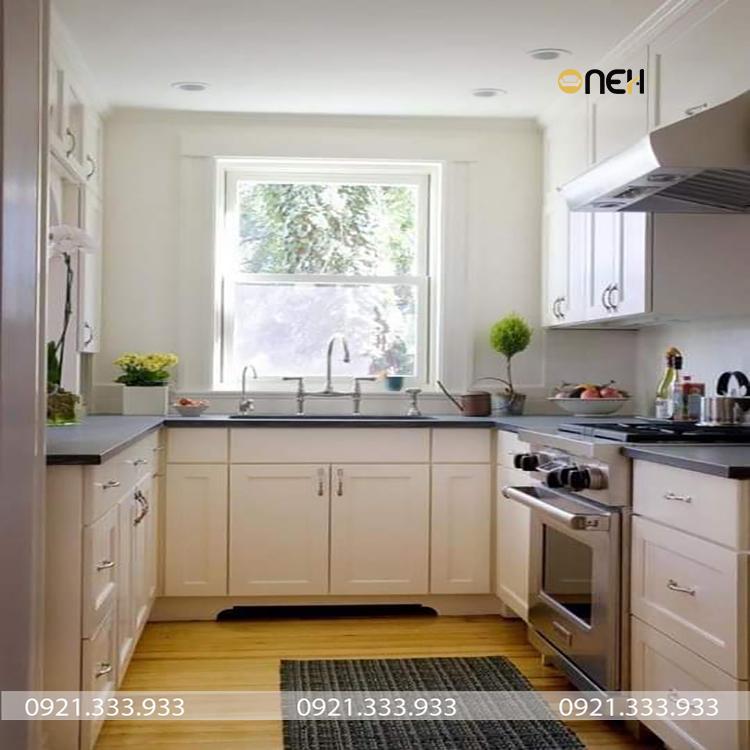 Thiết kế nhà bếp sử dụng sàn gỗ cao cấp kháng nước