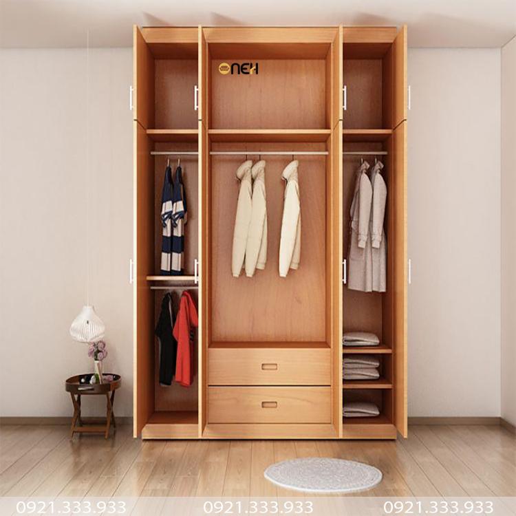 Tủ quần áo 2 cánh mở bằng gỗ