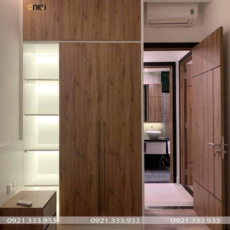 Tủ quần áo 2 cánh tủ kết hợp kệ trang trí độc đáo