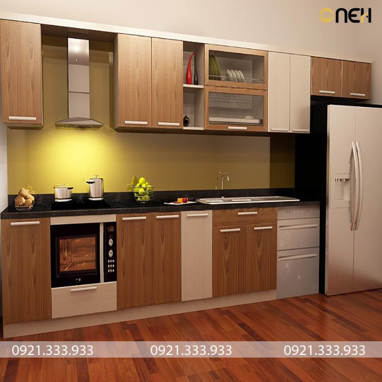 Tủ bếp được làm bằng khung inox cánh tủ bằng gỗ công nghiệp có giá rẻ