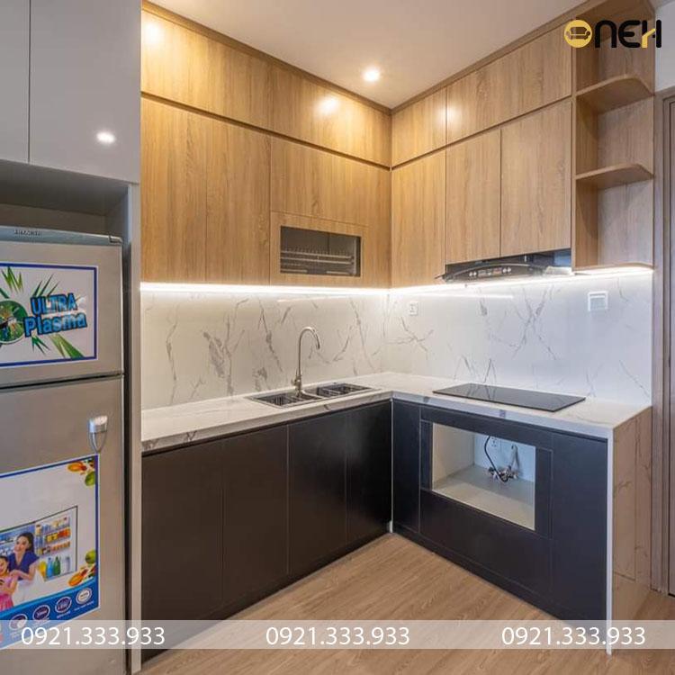 Tủ bếp gỗ công nghiệp co giá rẻ, dao động từ 12 đến 15 triệu cho 1 tủ bếp đẹp