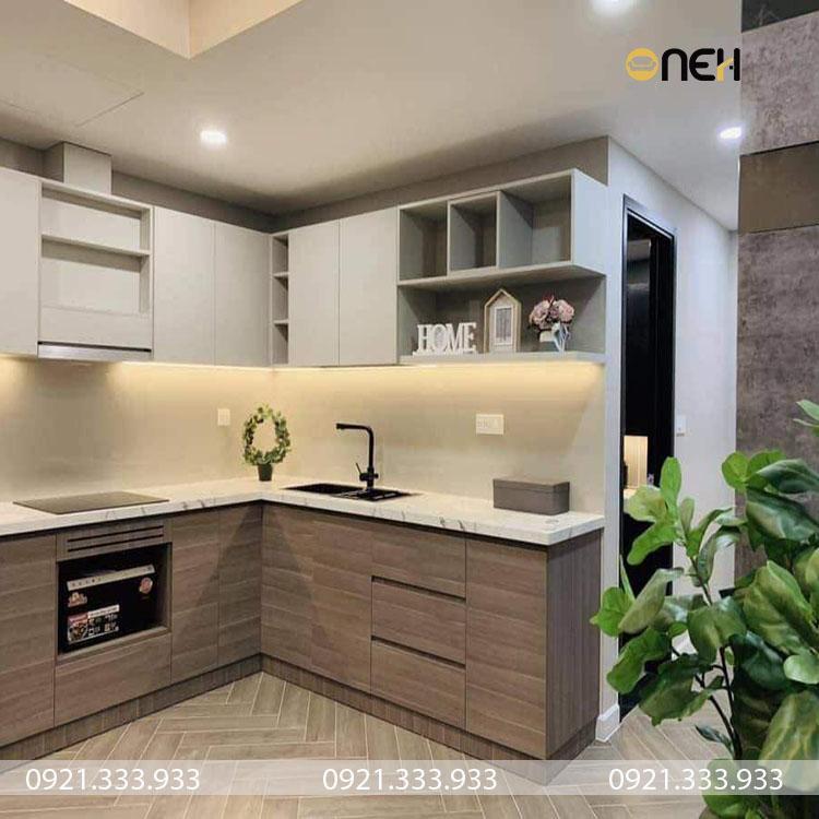 Tủ bếp có kích thước nhỏ phù hợp cho các căn chung cư, nhà có diện tích nhỏ