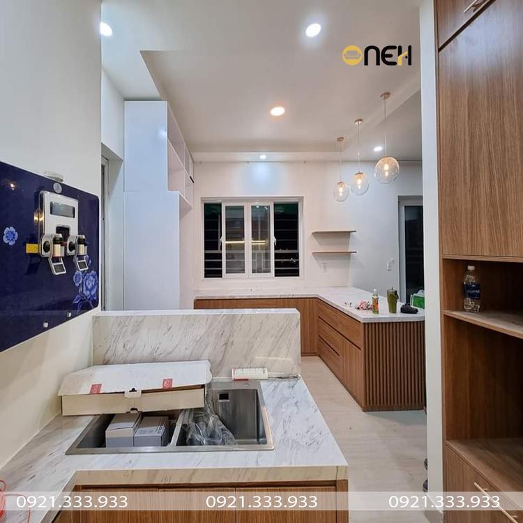 Tủ bếp cao cấp chữ L mang vẻ đẹp hiện đại