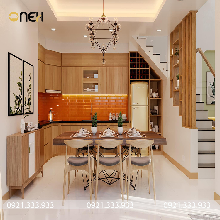 Tủ bếp cao caaso chữ L phủ acrylic sáng bóng, tính thẩm mỹ cao