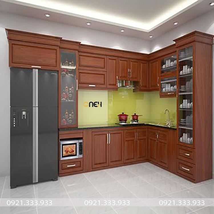 Tủ bếp gỗ hương có màu sắc và đường nét vân gỗ đẹp, thớ gỗ mềm mịn mỏng