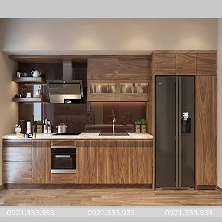 Tủ bếp gỗ óc chó có độ cứng chắc, màu gỗ sẽ có màu socola độc đáo