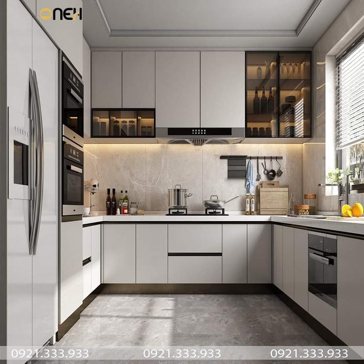Tủ bếp chữ U làm bằng gỗ công nghiệp màu trắng có thiết kế hiện đại