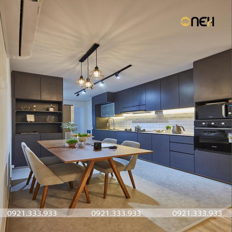 Tủ bếp chữ I hiện đại cho các căn nhà có diện tích bếp lớn