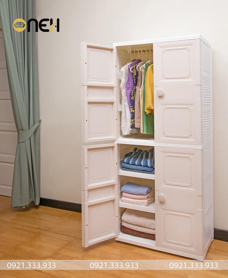 Kết cấu tủ áo nhựa  gọn nhẹ mang đến nhiều tiện ích