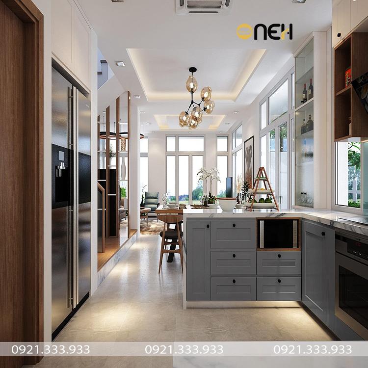 Thiết kế phòng bếp không gian mở thông với khu vựa ăn uống