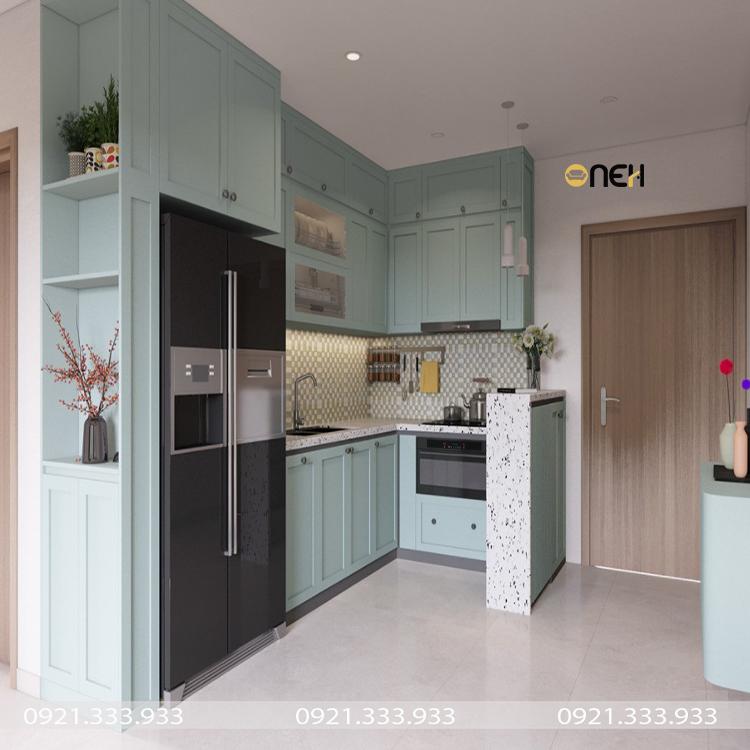 Thiết kế tủ bếp gỗ kết hợp mặt đá tạo nên nét đẹp độc đáo