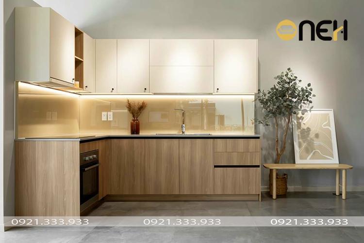 Tủ bếp hiện đại thiết kế nhẹ nhàng, mộc mạc
