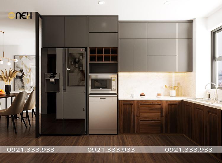 Thiết kế tủ bếp hiện đại đảm bảo công năng, màu sắc vân gỗ và xám đẹp mắt